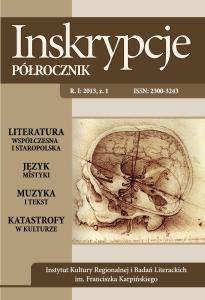 """Okładka czasopisma naukowego """"Inskrypcje. Półrocznik"""" nr 1/2013"""