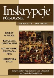 """Okładka czasopisma naukowego """"Inskrypcje. Półrocznik"""" nr 1/2014"""